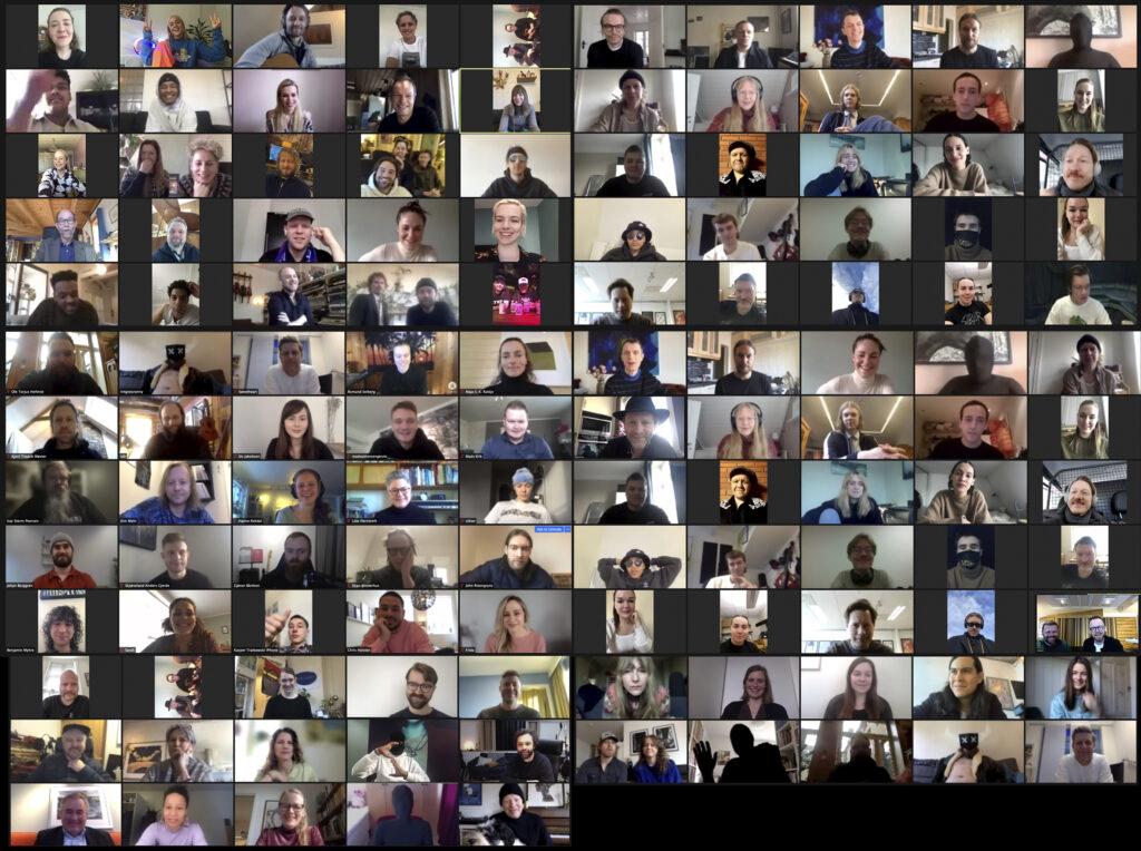Samlebilde av de nominerte til Spellemann 2020, samlet på et felles Zoom-møte. Foto: Simen Idsøe Eidsvåg